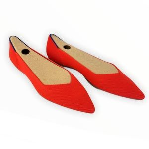 Like NEW! Rothy's Flame Orange Red Point Flat 8